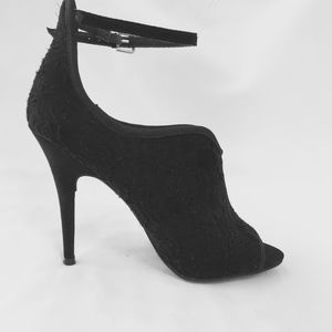 Black Lace Bootie with Ankle Strap